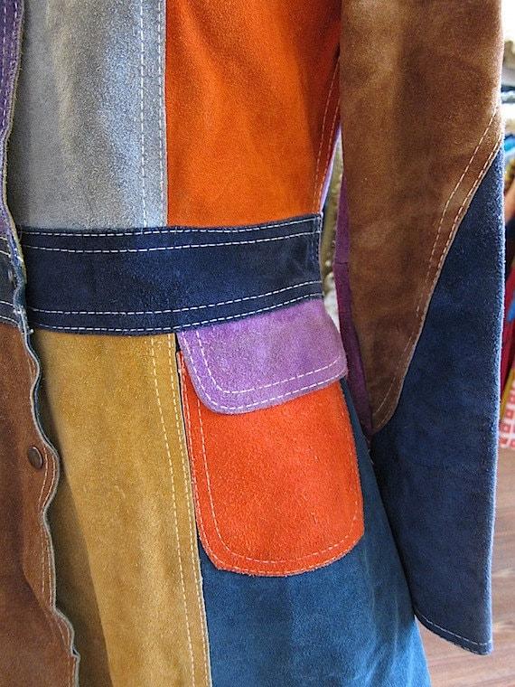 RESERVED FOR DEBZJOY suede patchwork coat