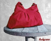 ANGELICA // Dark Red // 073 // Luckycann // hand made //  Canvas Bag // Sale