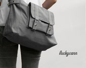 CARSON // Dark Grey / Lined with Beige / 031 //  Ship in 3 days // Messenger / Diaper bag / Shoulder bag / Tote bag / Purse / Gym bag