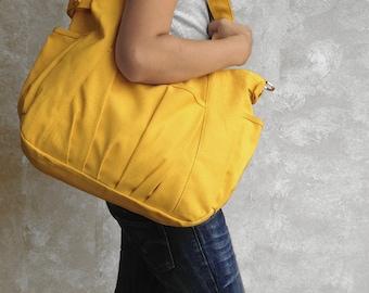 IRIS // Lemon Chiffon / Lined with Beige / 052 // Ship in 3 days // Messenger / Diaper bag / Shoulder bag / Tote bag / Purse / Gym bag