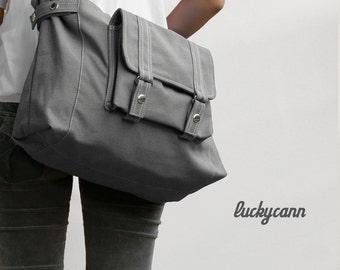 CARSON // Dark Grey / Lined with Beige / 031 //  Ship in 3 days // Messenger / Diaper bag / Shoulder bag / Tote bag / Purse / Gym bag