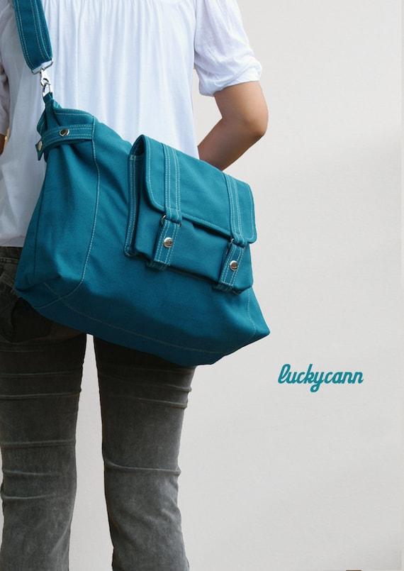 CARSON // Teal / Lined with Beige / 034 // Ship in 3 days // Messenger / Diaper bag / Shoulder bag / Tote bag / Purse / Gym bag