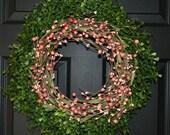 Spring Wreath -Door Wreath - Boxwood Wreath - Berry Wreath