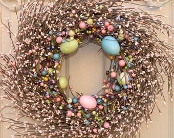 Spring Wreath - Outdoor Wreath - Berry Wreath - Easter Wreath - Egg Wreath