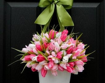 Tulip Wreath Alternative - Pink Wreath - Tulip Pail - Outdoor Wreath