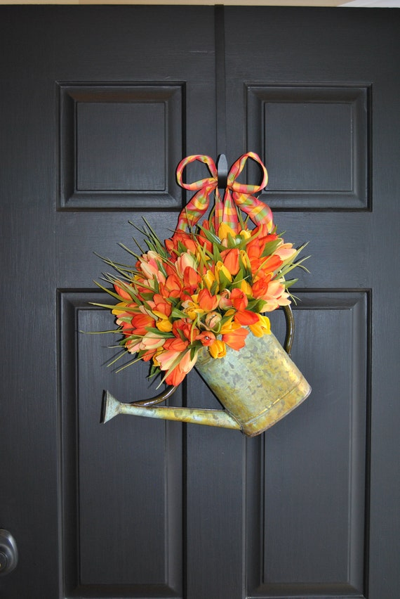 Watering Can Front Door Wreath Alternative Orange Yellow