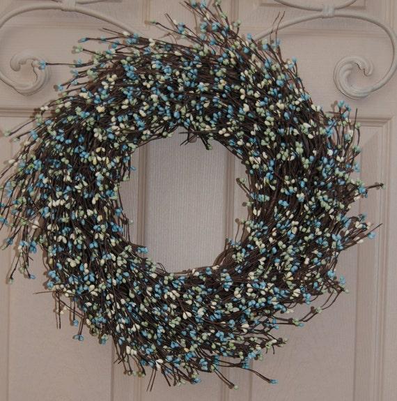 Berry Wreath Outdoor Wreath Front Door Wreath Blue