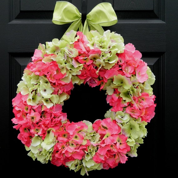 Spring Wreath - Summer Wreath - Hydrangea Wreath - Outdoor Wreath - Pink Wreath
