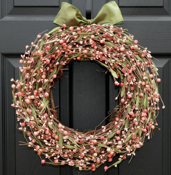 Berry Wreath - Pink Wreath - Door Wreath