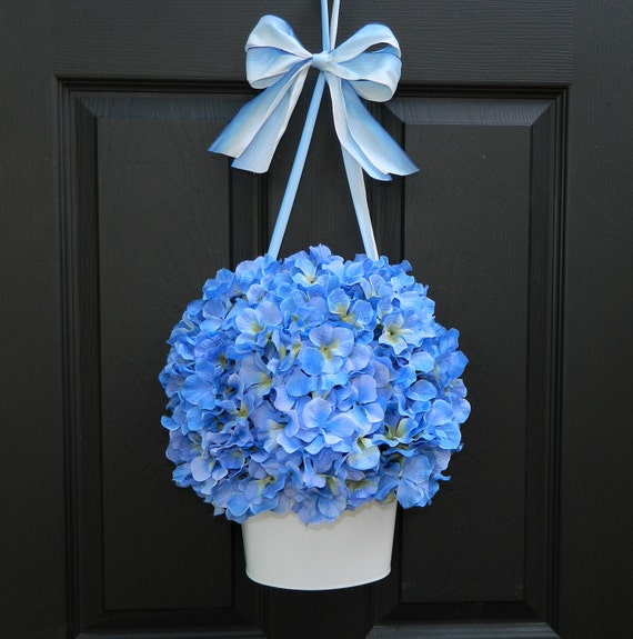 Hydrangea Wreath - Blue Wreath - Flower Pail - Wreath Alternative - Door Wreath