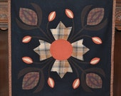 Floral Felted Wool Penny Rug