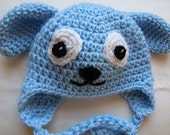 Mark down for clearance - Blue puppy hat 3-6 month size
