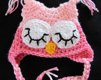 Shades of Pinks sleepy owl baby hat for newborn 0-3 months