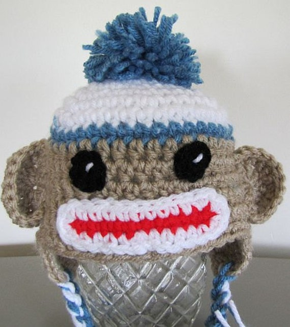 sock monkey for newborn in linen and country blue (0 - 3 mon)