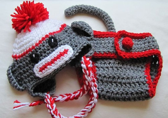 newborn (0-3 months) sock monkey hat and monkey pants with tail (red trim)