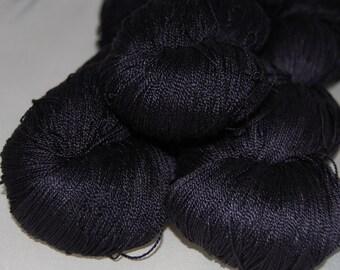 Midnight black- Mulberry silk 100% (2ply ,) handdyed yarn 100g.