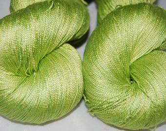 Key lime- Mulberry silk 100% (2ply ,) handdyed yarn 100g