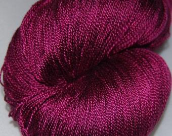 Bright raspberry- Mulberry silk 100% (2ply ,) handdyed yarn 100 g.