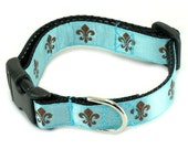"5/8"" Dog Collar or Martingale - Copper Fleur de Lis on Blue"
