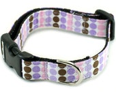 Dog Collar or Martingale - Purple Polka Dots