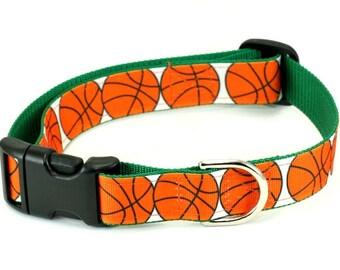 Ribbon Dog Collar - Basketball Dog - Choose Your Size