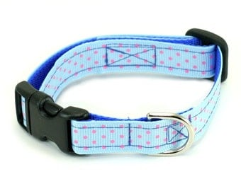 "Blue Dog Collar, Baby Blue Dog Collar, Soft Blue, Ready To Ship - 5/8"" Ribbon Dog Collar - Pink Dotty on black webbing not blue webbing"