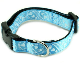 "Blue Dog Collar, Ready to Ship Small 5/8"" Dog Collar - Mr. Lovely"
