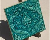 Art Nouveau period original majolica tile CYAN FLOWERS