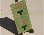 "Art Nouveau period original majolica tile 6""x 3"" LITTLE PURPLE FLOWERS"