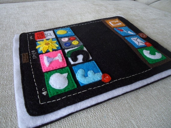 iPad Case - Handmade Felt Icon Case (Made to Order)