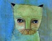 "Cat 2 8"" x 10"" Original Painting Print Animal Bliss"