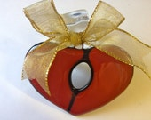 Fused glass Broken Heart  Ornament  Wounded Heart Healing Heard One of A kind