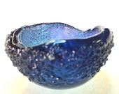 Fused  Dichroic BlueGlass Candle Holder Blue and Rainbow Stripped Interior Tea Light  Candle Holder  Small Dish 316