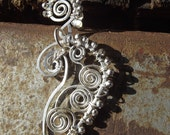 Hand Forged Jewelry Sun Swirl Wire Wrap Sterling Silver Paisley  Earrings 185