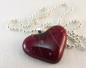Valentine Heart Fused  Glass Necklace Pendant Jewelry Fuchsia 236