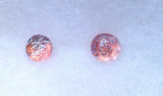 Tiny Little Fused Dichroic Glass Post Earrings Jewelry Peach and Silver  153