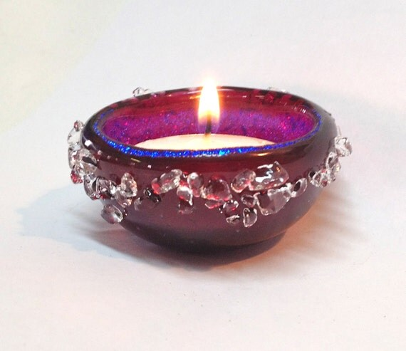 Dichroic Glass Jewelry Catcher Fused and Slumped Trinket Catcher  Tea Light Candle Holder Raspberry Pink and Violet Purple  158