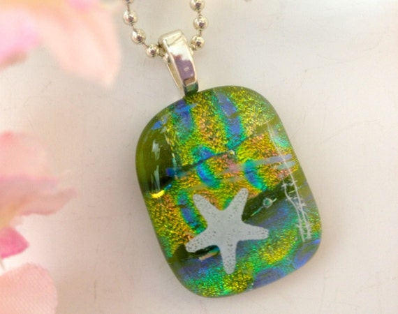Dichroic Fused Glass Necklace Pendant Green with  White Star Fish  Statement Jewelry 462