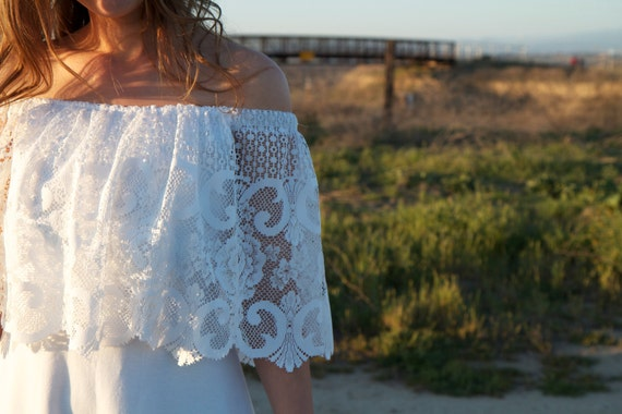 SALE- Bohemian, Lace, Off The Shoulder, Wedding Gown - Ione