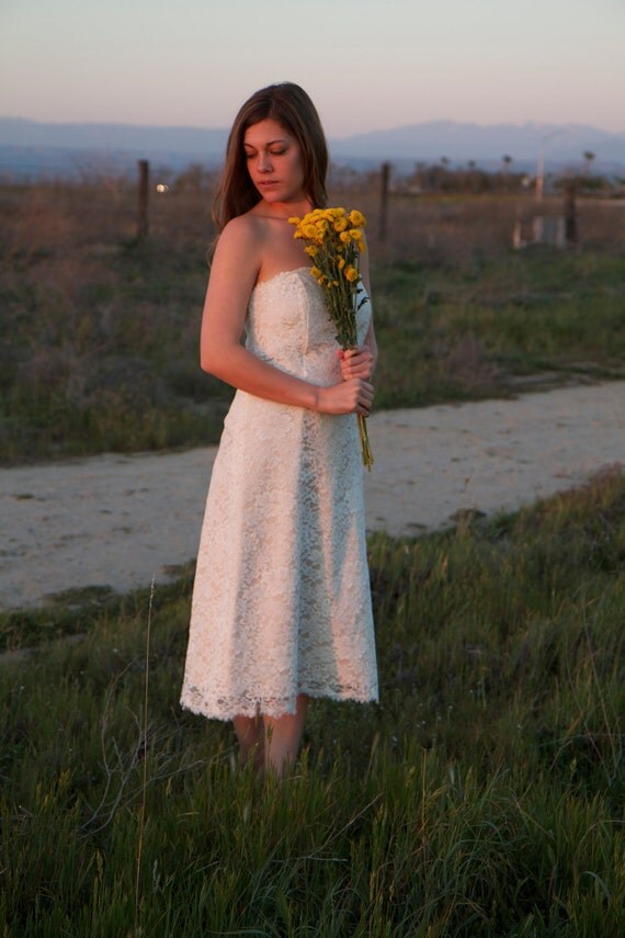 RESERVED FOR SARAH - Tea-Length, Lace, Vintage Wedding Dress - Sloane