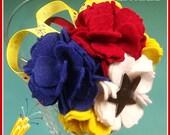 "Reserved For GooseberryLane Sale ""Lil' Firecracker"" Red White Blue Yellow Felt Carnations Printed Ribbon Satin Headband And Bracelet"