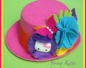 "New ""Spring Kitty"" Flowers and Butterflies Kitty Inspired Pink Mini Top Hat Photograpghy Prop Girls Toddlers Tweens"