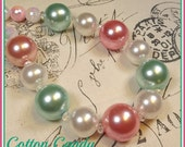 """New """"Cotton Candy"""" Pink White And Turquoise Chunky Crystal Bead Bubblegum Style Necklace Girls Tweens Photo Shoot Prop"""
