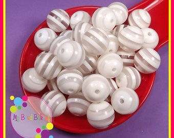 6 Pieces 20mm White Striped Resin Gumball Style Beads DIY Crafts For Chunky Necklaces And Bracelets