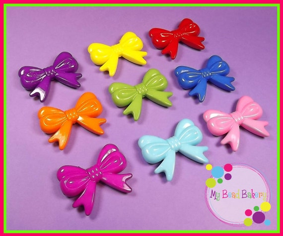 You Pick 6 Large Acrylic Bow Beads 47mm DIY Crafts Fushia Purple Orange and Light Blue Sold Out