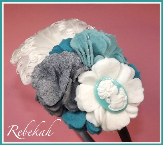 "New ""Rebekah"" Blue Gray White Felt Carnations Cameo Nagorie Feathers Satin Headband Photo Shoot Girls Toddlers Tweens Classy"