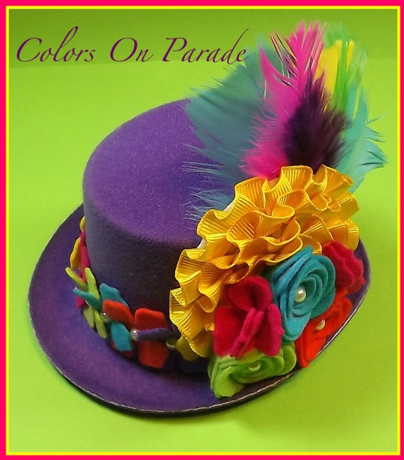 "New ""Colors On Parade"" Felt And Feathers Purple Mini Felt Top Hat Spring Prop Photo Shoot Girls Toddlers Tweens"