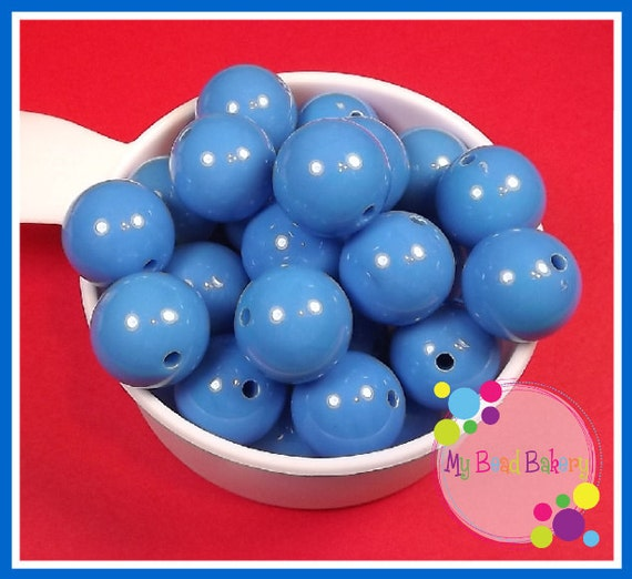 10 Pieces 20mm Medium Blue Acrylic Gumball Style Beads DIY Crafts For Chunky Necklaces And Bracelets