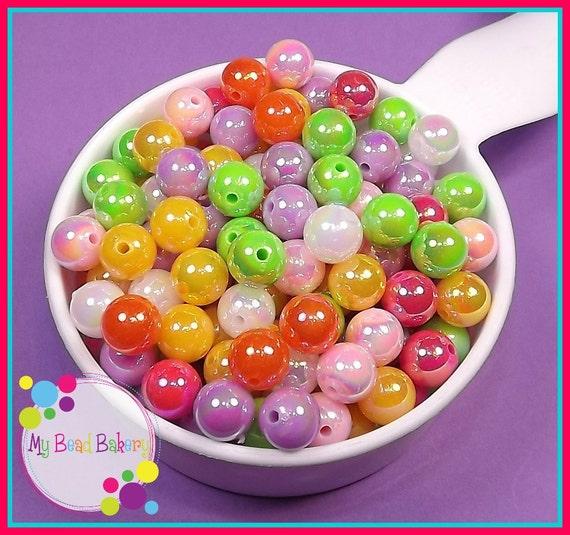 50 Pieces 10mm AB Acrylic Round Sparkle Beads Pastel Rainbow Mix DIY Crafts