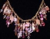 Sale!!  Handmade Chain Pink Swarovski Crystals, Jasper & Pearls Charm Necklace 0511 Free Ship USA